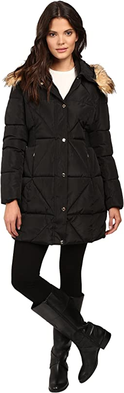 Cinched Waist Puffer w/ Hood and Removable Faux Fur