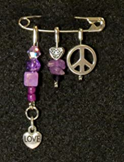 Solidarity Safety Pin 09: Handmade Art Safety Pin Solidarity Jewelry Gem Stone Glass Bead Crystal