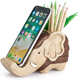 Pen Pencil Holder with Phone Stand, Coolbros Resin Shaped Pen Container Cell Phone Stand..