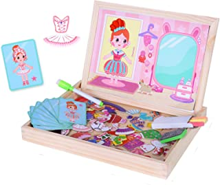 Sponsored Ad - BAQSOO Wooden Magnetic Puzzle Board Drawing, Magnetic Dress Up Dolls Wooden Toy, Girls Dress-Up Puzzle Pret...