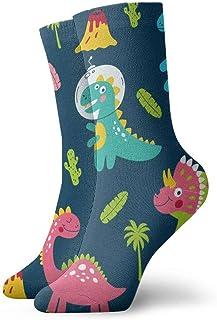 Verctor Niños 'S Cute Dinosaur Print. Calcetines Deportivos Calcetines Deportivos Calcetines Largos de 30 cm