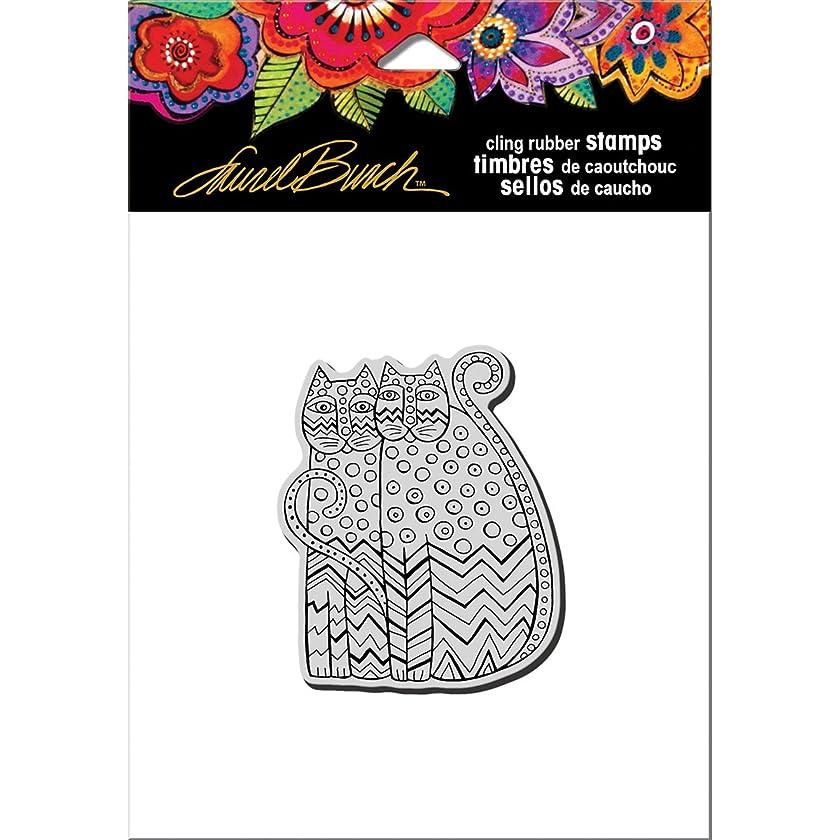 STAMPENDOUS Laurel Burch Rubber Stamp, Zigzag Cats