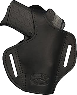Barsony New Black Leather Pancake Holster for 380 and Small 9mm 40 45