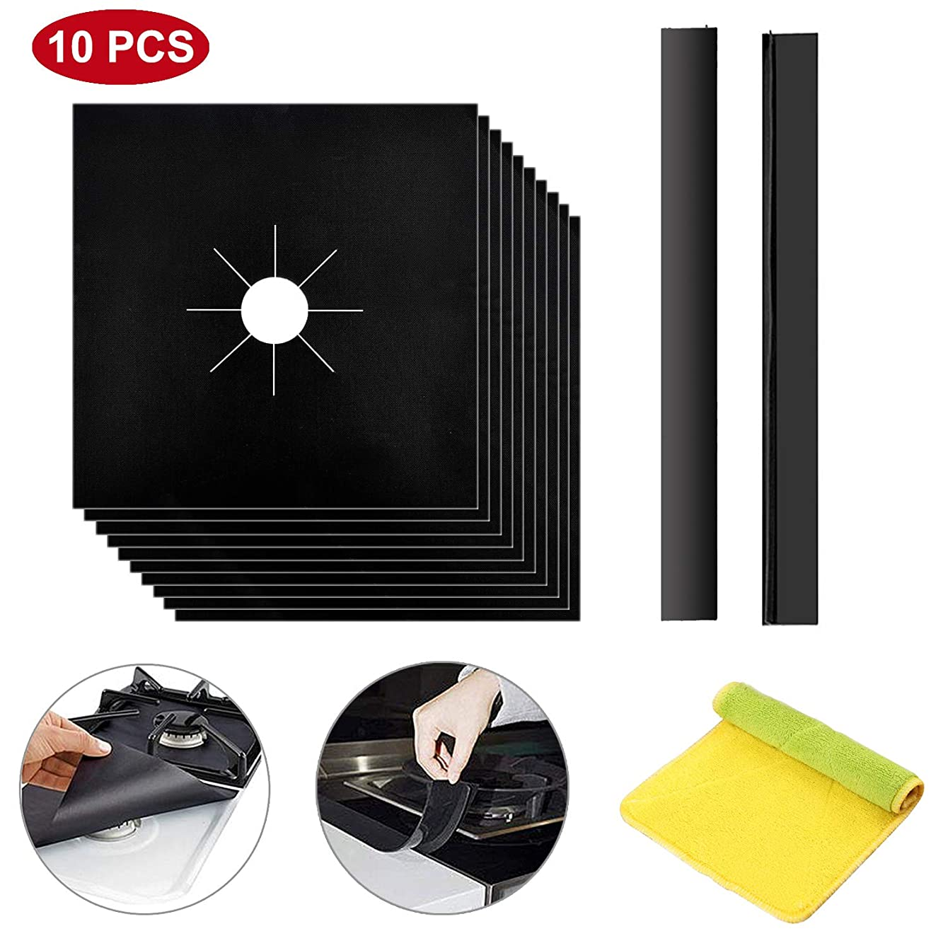 Stove Burner Covers, 10 Pack Reusable Gas Range Protectors + 2 Pack Stove Counter Gap Cover Kitchen Cleaning Kit for Cooktops, Non-Stick Fast Clean Liners Easy to Clean, Black