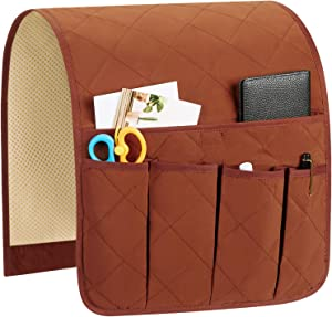 Teniux Armrest Organizer Non-Slip Remote Control Holder with 5 Pockets Couch Sofa Chair Armchair Caddy for Smart Phone, Book, Magazines, Ipad (Coffee)