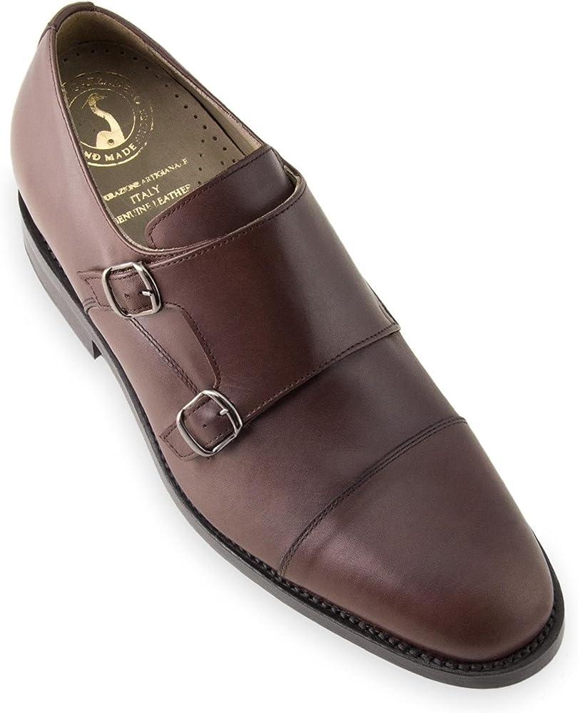 Masaltos,scarpe con rialzo per uomo, che aumentano l'altezza fino a 7 cm,in pelle Bristol