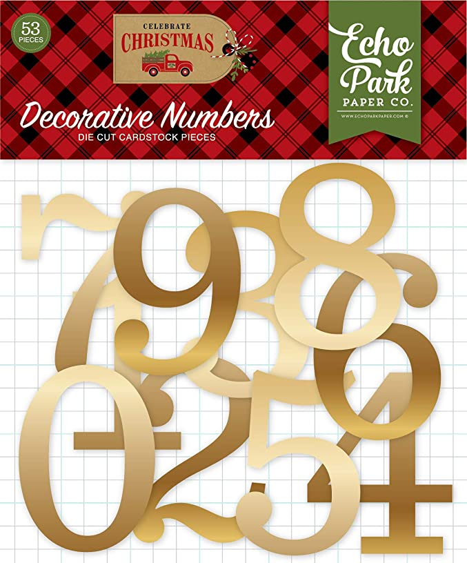 Echo Park Paper Company CCH159029 Celebrate Christmas Gold Foil Numbers Ephemera, red, Green, tan, Burlap, Black