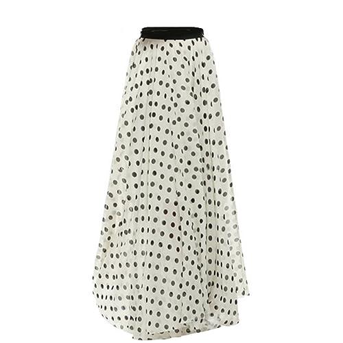 1329a12df54 FashionShop365 Women s Solid Floral Print Lightweighted Chiffon Long Summer  Beach Skirt