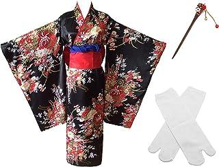 Japanese Anime Lolita Cherry Sakura Flower Printing Kimono Costumes Fancy Dress Hairpin tabi Socks Set(CHF006) Black