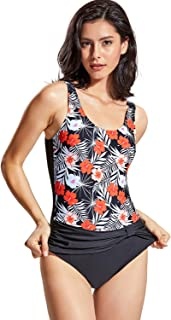 DELIMIRA Women's Swimwear One Piece Floral Printed Ruched Vintage Swimsuit Monokini