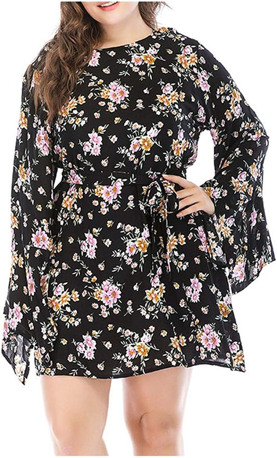PerfectMood Women Dress Casual Long Sleeves Dresses Sashes Print Empire Line ONeck Summer White Flower Dress