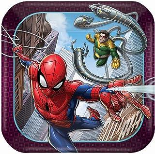 """Spider-ManTM""""Webbed Wonder"""" Square Plates, 7"""", Party Favor"""