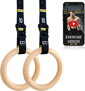 Double Circle Wood Gymnastic Rings, Numbered Straps and Exercise Videos Guide for..
