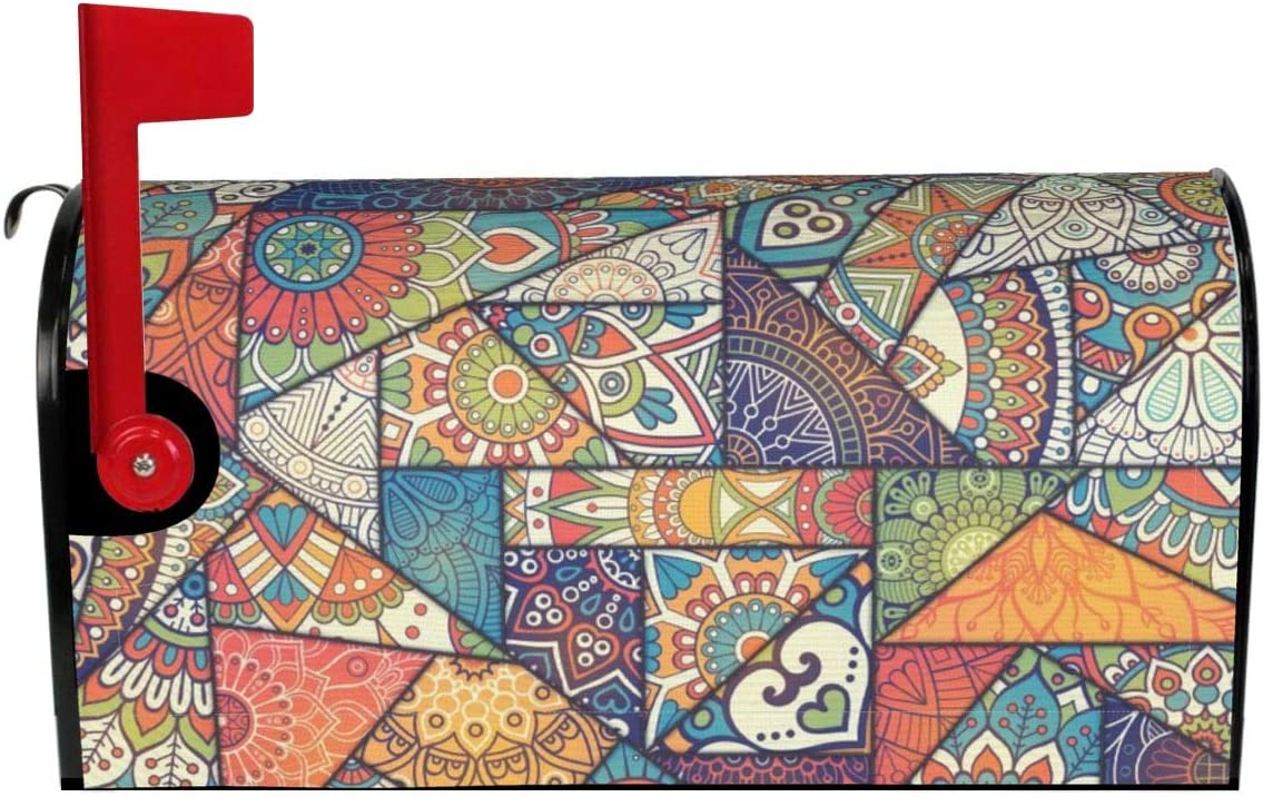 Patchwork Vintage Bohemian Max 60% OFF Boho Elements Magnetic Mailbox Covers Los Angeles Mall