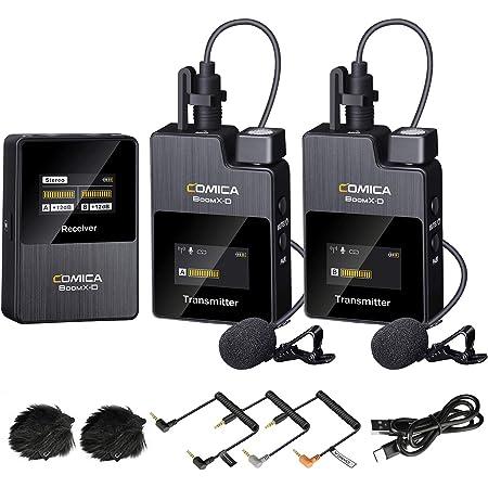 ワイヤレスマイクシステム Comica BoomX-D2 外付けマイク2.4Gデジタル無線マイクロホン 多機能 高音質 小型ワイヤレスクリップマイクカメラ/スマートフォンiOS Android用(2TX+RX)