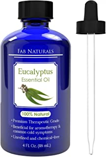 Eucalyptus Essential Oil 4oz - Premium Therapeutic Grade, for Diffuser, Humidifier, Sauna, Steam Room, Shower, 100% Pure - by Fab Naturals