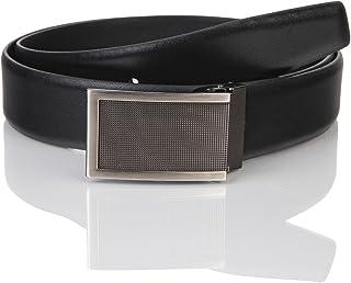 LINDENMANN Mens leather belt/Mens belt, business belt, leather belt curved with plate buckles, black, Größe/Size:110, Farb...