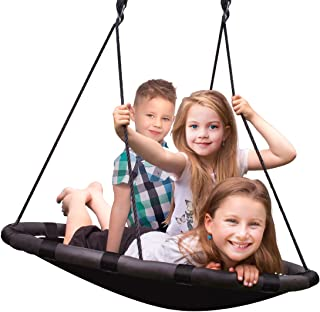 Sorbus Spinner Swing – Kids Indoor/Outdoor Round Mat Swing – Great for Tree, Swing Set, Backyard, Playground, Playroom – Accessories Included (40