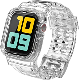 AhaStyle Crystal iWatch Band Strap with Rugged Bumper Case Compatible with Apple Watch 42mm 44mm,...