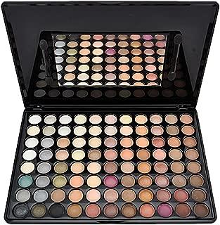 Youngman 88 Warm Pro Colors Matte Shimmer Eyeshadow Palette Makeup Kit Set + Brush Mirror (Earth Tone)