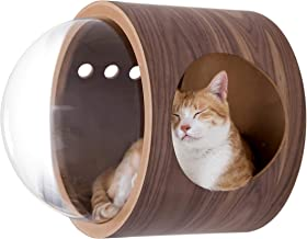 MYZOO Spaceship Gamma, Cozy Cat Bed, Cat Cave, Cat House, Made of Solid Wood (Walnut, Open Right)