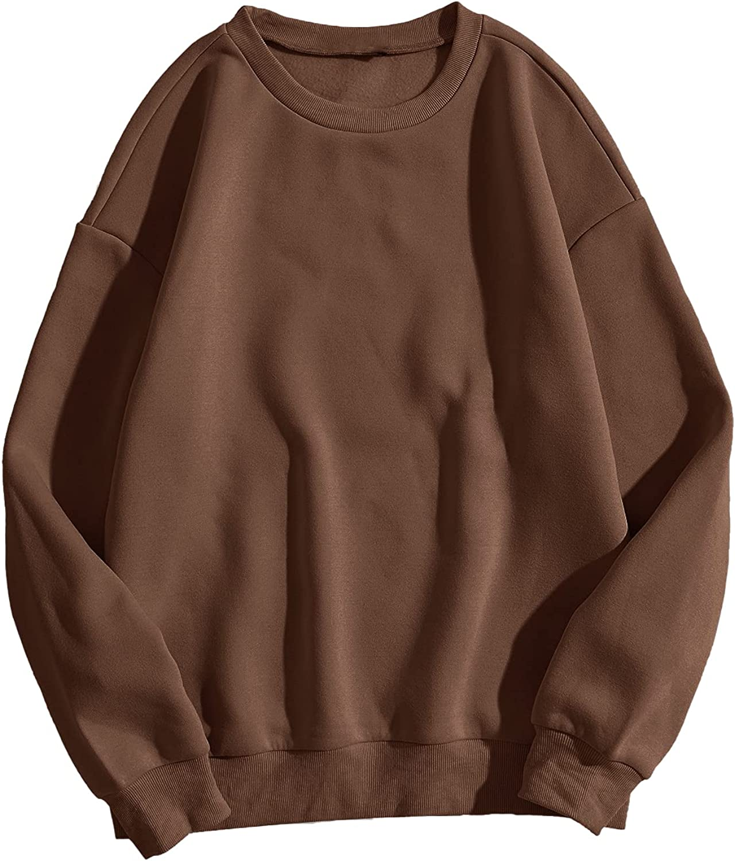 SheIn Women's Plus Long Sleeve Round Neck Sweatshirt Drop Shoulder Pullover Top