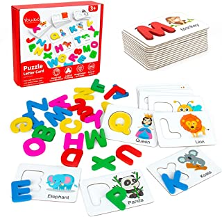 Youwo Alphabet Flash Cards, Wooden Letters Puzzle, Educational Kids Learning activitie, ABC Toys Age 2 and Up toddler.
