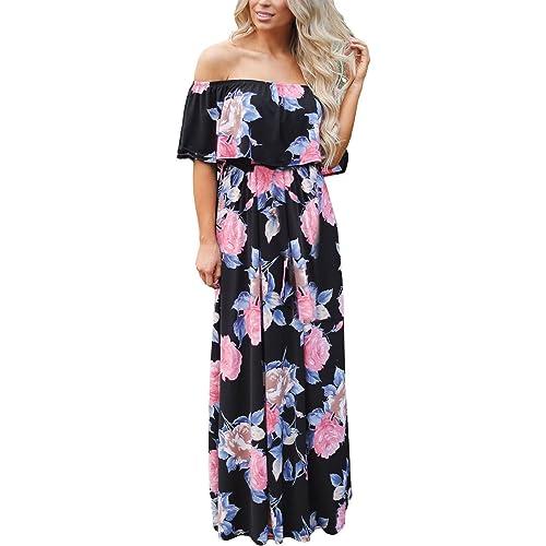 9574bcf10f9 Happy Sailed Women Floral Print Off Shoulder Maxi Dresses