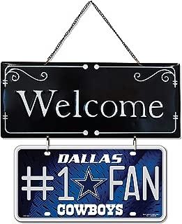 Sunset Vista Design Welcome #1 Fan Cowboys Blue 14.25 x 7.25 Metal Decorative Hanging Sign