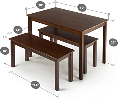 Zinus Juliet Espresso Wood Dining Table with Two Benches / 3 Piece Set, Table and Bench Set