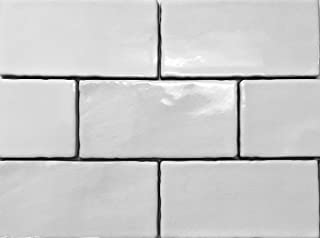 white subway tile crackle finish
