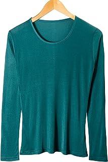 CHARIXI Women's 100% Silk Undershirts Long Sleeve Crew Neck T-Shirts