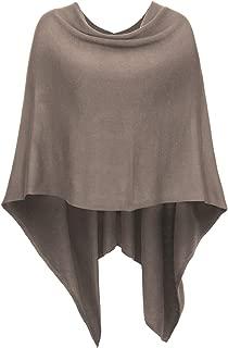 DJT Womens Solid Knit Short Asymmetric Wrap Poncho Topper
