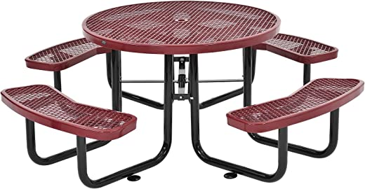 B06XB9VQN3✅46″ Round Expanded Metal Picnic Table, Red