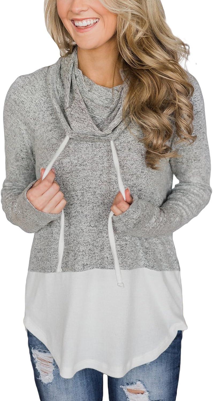 BLENCOT Women's Cowl Neck Hoodies Tops Long Sleeve color Block Drawstring Lightweight Hooded Sweatshirt