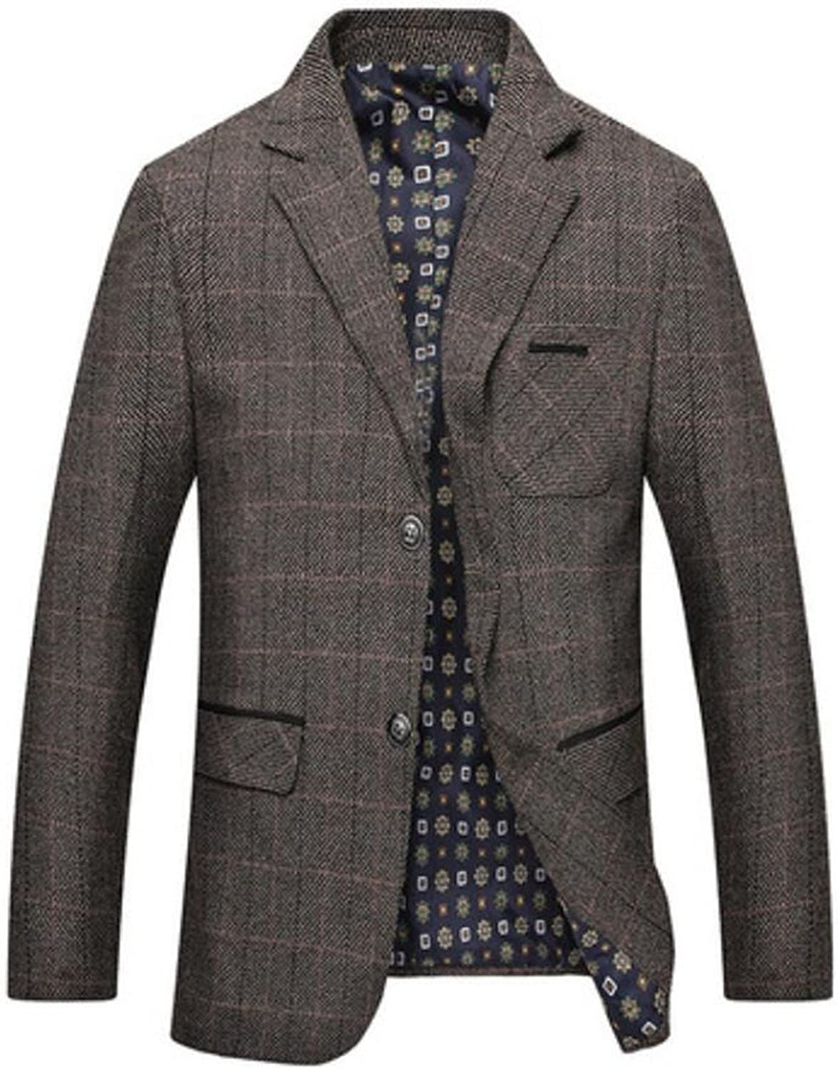 81289e5089dbc9 KLJR-Men Slim Slim Slim Fit Plaid Two Button Casual Notch Lapel Bussiness  Suit Coat Blazer 63a2f1