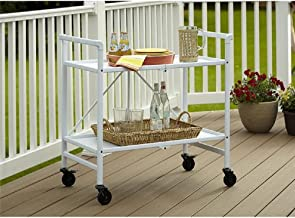 Serving Cart for Dining Room Outdoor Folding Rolling Wheels Portable Serving Cart Bar Trolley Storage Home Kitchen Indoor ...