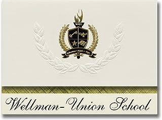 Signature Ankündigungen wellman-union Schule (Wellman, TX) Graduation Ankündigungen, Presidential Stil, Elite Paket 25 Stück mit Gold & Schwarz Metallic Folie Dichtung B078VDQ6VB  Modern
