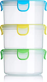 Snap Fresh - 3 Pack of Salad Containers - 1 Liter (33.8 fl oz) - BPA-Free, Locking Lids and Airtight Silicone Seal - Lunch, School, Food Storage, Snacks and Travel.