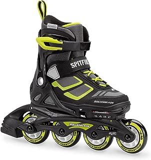 Rollerblade Spitfire XT Boy's Adjustable Fitness Inline Skate, Black and Lime, Junior, Youth Performance Inline Skates