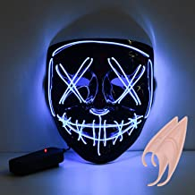 URAQT LED Halloween Masques, Lumière Masques, Halloween Masque d'horreur Cosplay Grimace Festival Party Show Alimenté par Batterie Non Inclus Bleu + Une Paire d'oreilles en Latex elf