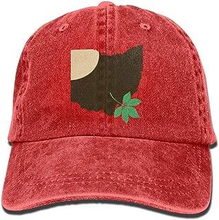Vibdiv Ohio State Buckeye Leaf Snapback Casual Baseball Hat Denim Hat for Men and Women Ajustable Red
