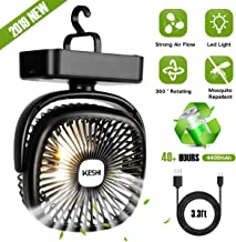 Portable Camping Fan with LED Lantern - 4400mAh Battery Powered Small Desk Fan - Super Quiet Personal Tent Fan - USB Rechargeable Fan for Camping, Hiking, Home and Office