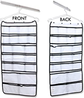 Hanging Closet Organizer 42 Pockets & Hanger stores Clothes, Stockings, Socks, Jewelry, Toiletries, Baby Nursery, Household & Children Accessories. Durable Dual-sided Closet Storage Saves Space
