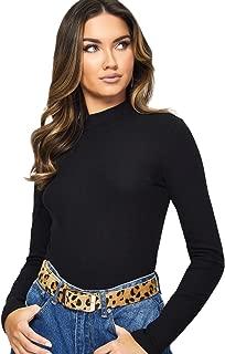 WDIRARA Women's Elegant Long Sleeve Mock Neck Solid Rib-Knit Slim Top