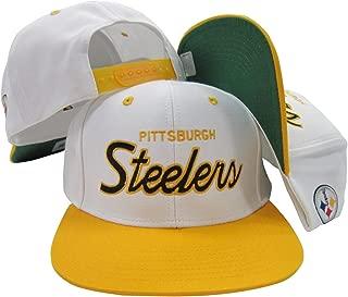 Reebok Pittsburgh Steelers White/Black Script Two Tone Adjustable Snapback Hat/Cap