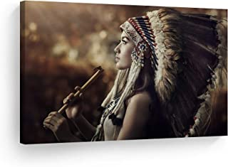 SmileArtDesign Indian Wall Art Native American Girl with Flute Canvas Print Home Decor Decorative Artwork Gallery Wrapped Wood Stretched and Ready to Hang -%100 Handmade in The USA - 24x36