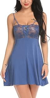 ADOME Women Sexy Chemise Lingerie Lace Babydoll Modal Sleepwear Full Slip Nightie Dress