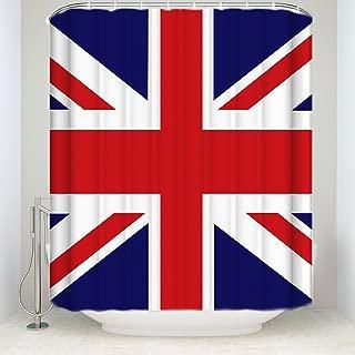 KAROLA Bathroom Shower Curtain, Waterproof Polyester Fabric Modern The Union Jack Flag Fabric Bath Decor Shower Curtains Set with Hooks 72