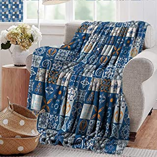 Xaviera Doherty Soft Cozy Throw Blanket Patchwork,Europe Folkloric Symbols for Bed & Couch Sofa Easy Care 50